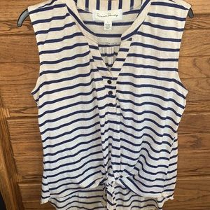 French Laundry Sleeveless Tie Front Blouse